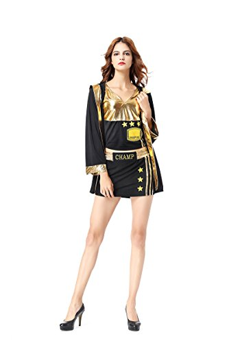 Zooma Erwachsene Frau Schwarz/Gold Sexy Knockout Boxer Kostüm