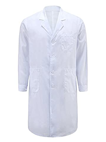 MQMY white coat/overcoat doctor nurse clothing/clothes men long sleeve breathable antibiosis close to the skin durable (M, thick)