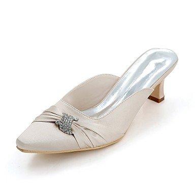 Wuyulunbi@ Scarpe donna raso Primavera Estate della pompa base di nozze blocco scarpe tacco punta quadrata strass per la festa di nozze & Sera Champagne Champagne