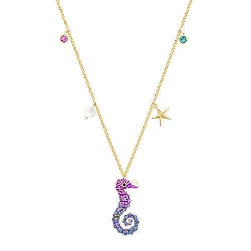 Swarovski Ocean Seahorse Anhänger, Mehrfarbig, Vergoldet