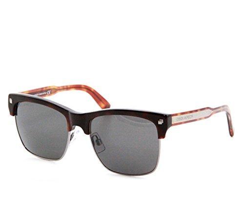 DSQUARED² Artist Sonnenbrille, Braun und silber mit grauen Gläsern, Wayfarer