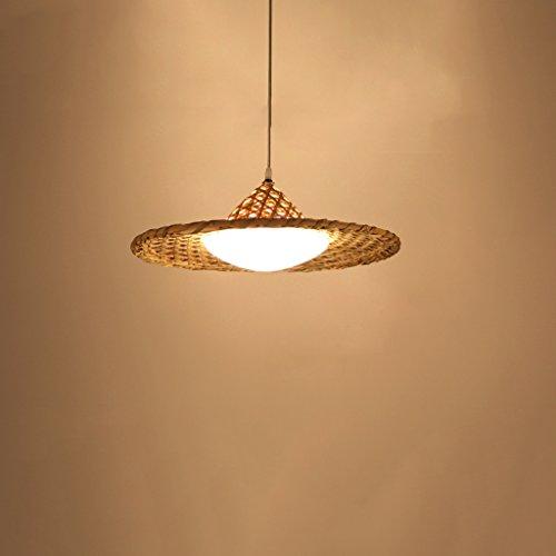 hte Kronleuchter, Single E27 Lichtquelle Bambus Chinesische Hut Glasschirm Einfache Pendelleuchte für Wohnzimmer Schlafzimmer ()