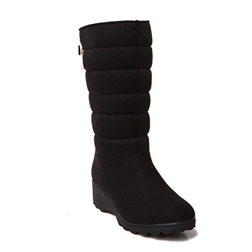 voguezone009-womens-frosted-pull-on-round-closed-toe-low-heels-low-top-boots-black-35