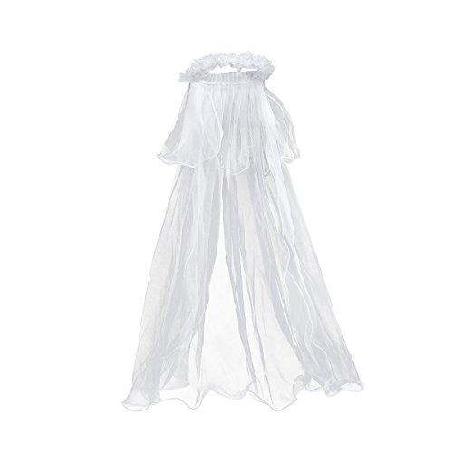 chleier Brautschleier Kinder Mädchen Stirnband mit Schleier Hochzeit Kommunion Krone (weiß) ()