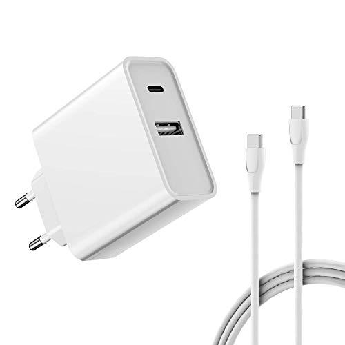 USB-C Ladegerät mit USB C zu USB C Kabel, Power Delivery 5V 2A USB Anschluss für MacBook Retina 12-inch (2015, 2016, 2017), MacBook Air (Retina, 13-inch, 2018), iPad Pro 2018, USB-C PD-Netzteil 12 Zoll Kabel