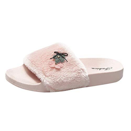Honestyi infradito donna, pantofole morbide da donna, antiscivolo, a forma di fondo piatto con fiori morbidi, pantofola morbide in pelliccia sintetica, sandali piatti infradito
