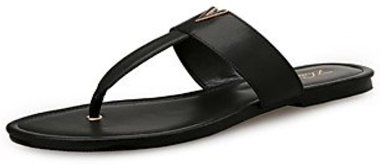 FSCHOOLYDamenschuhe Synthetische Microfaser Pu Feder Komfort Im Sommer Sandalen Flachbild Für Casual Kleid Rotö