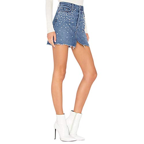 Dasongff Damen Hohe Taille Kurz Bleistiftrock Strass Perlen Minirock Jeansrock mit Taschen Glänzend Streetwear Pencil Skirt Schlitz Rock Mit Destroyed-Look -