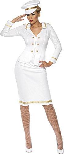 Fahrt Strumpfhosen (Smiffys Damen Marineoffizierin Kostüm, Jacke, Bleistiftrock unud Hut, Größe: M, 33072)