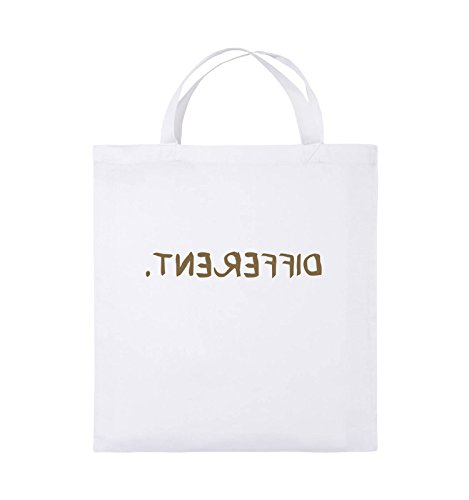 Comedy Bags - DIFFERENT - GESPIEGELT - Jutebeutel - kurze Henkel - 38x42cm - Farbe: Schwarz / Silber Weiss / Hellbraun