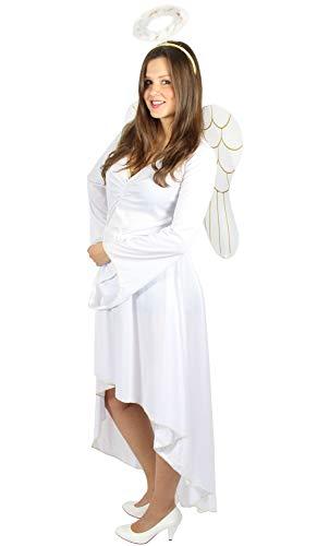 weißes Engel Kostüm mit Flügeln und Heiligenschein für Kinder - Größe 98 - 152, Größe:146/152