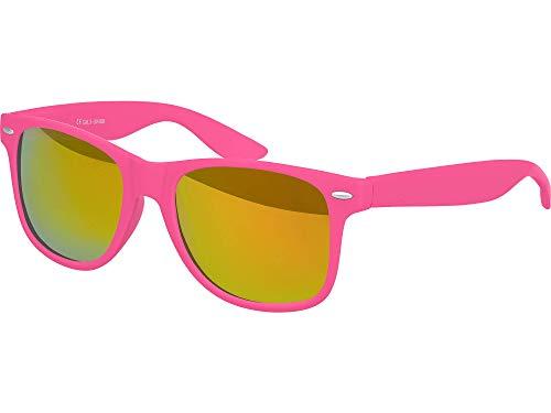 Balinco Hochwertige Nerd Sonnenbrille Rubber im Wayfarer Stil Retro Vintage Unisex Brille mit Federscharnier - 96 verschiedene Farben/Modelle wählbar (Pink - Rot/Orange verspiegelt)