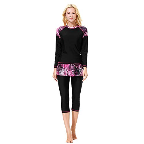 BETTERM Burkini, Muslimischen Badeanzug, Islamischen Full Cover Bademode, Bescheidene Badebekleidung, Swimwear Beachwear Damen (Bescheidene Kostüm)