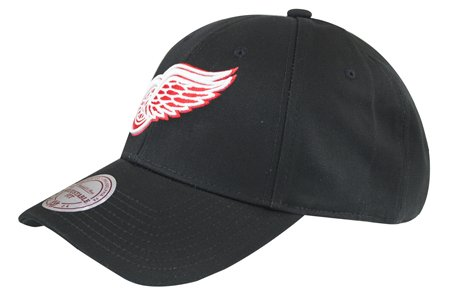Mitchell & Ness Detroit Red Wings Baseball Cap - Team Logo Low Pro - Schwarz - Einstellbar Low Pro Cap