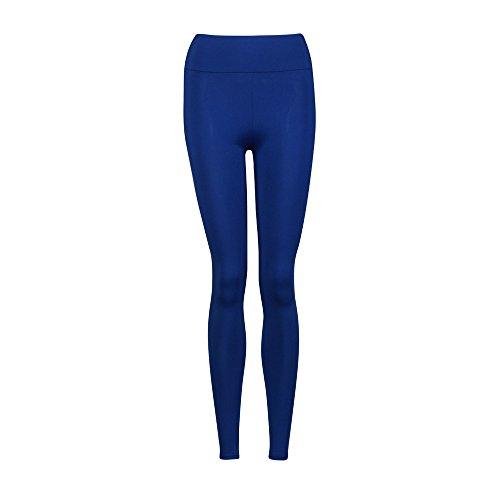 Fami Chaussures de sport YOGA Workout Gym Pantalons de sport Leggings High Waist Fitness Stretch Trousers (Bleu)