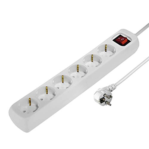 Hama Steckdosenleiste (1,4m Kabellänge, 6-fach mit Schalter und Kindersicherung, Steckplätze 45 Grad gedreht, GS geprüft) Mehrfachsteckdose weiß