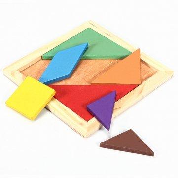 Souked Rainbow Color Wooden Tangram 7 Piece Puzzle Brain Teaser Puzzle