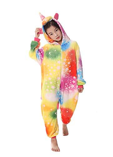 heekpek Kostüm Jumpsuit Tier Fasching Karneval Halloween kostüm Erwachsene Unisex Cosplay Schlafanzug Halloween kostüm Damen mädchen Kinder (Buntes Einhorn, Kinder Größe 125 - für Höhe 130-140cm)