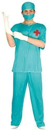 Scrubs Kostüm Chirurgen - Fancy Me Herren Scrub Arzt Chirurg TV Scrubs Uniform ARTZT & Krankenschwester Kostüm Kleid Outfit - Grün, Large