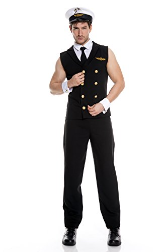 Men's Sexy Airline Pilot Fancy Dress Costume Medium
