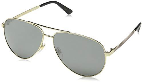 Gucci Herren GG0137S 002 Sonnenbrille, Gold/Grey, 61