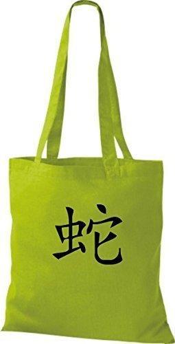 ShirtInStyle Stoffbeutel Chinesische Schriftzeichen Schlange Baumwolltasche Beutel, diverse Farbe kiwi