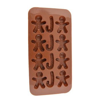 Silicone Gingerbread Man Christmas Crutches Shape Ice Cream Mold Chocolate Mold Cake Mold