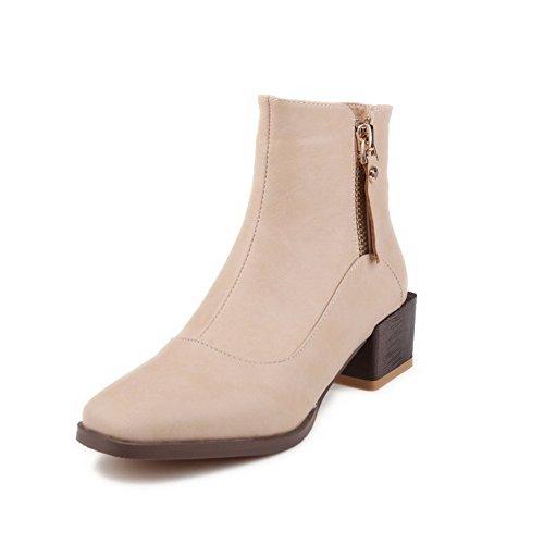 VogueZone009 Damen Rund Zehe Hoher Absatz Niedrig-Spitze Stiefel mit Metallisch, Aprikosen Farbe, 40