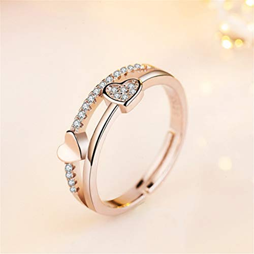 YCS Einstellbare Ring Band Micro Pave Zirkonia Herz Band Ring Double Heart Shape Promise Ring, Gold
