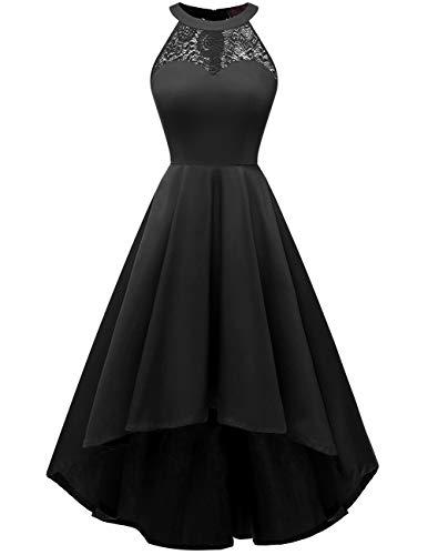 DRESSTELLS 1950's Robe de soirée de Cocktail Vintage asymétrique High-Low années 50 col Rond Style Halter Longueur Mollet Black XS
