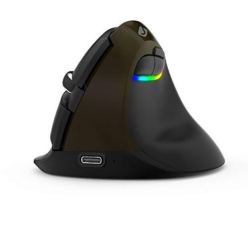 J-Tech Digital Ratón inalámbrico Ratón ergonómico Vertical, Recargable 2.4G RF y Bluetooth 4.0 Conexión inalámbrica Ratones ópticos con luz LED Ajustable 800/1200/1600/2400 dpi (Negro Gris)