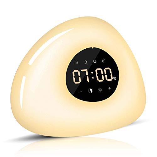 Elfeland Lichtwecker Tageslichtwecker Wake Up Light Wecker Licht RGB Nachttischlampe mit Sonnenaufgang Sonnenuntergang Simulation, Snooze Funktion, 10 Wecktöne, Adapter für Haus Schlafzimmer Geschenk