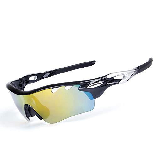 AUMING UV400 Schutz Sportbrille 5 austauschbare Linsen Fahrrad Sport Fahrrad Fischerei UV-Schutz Sonnenbrille Rahmen Design für Männer und Frauen 7 Farben Black Frame Black Sliver Arm