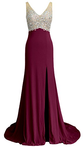 MACloth Elegant Mermaid V Neck Long Prom Dress Jersey Formal Party Evening Gown Wine Red