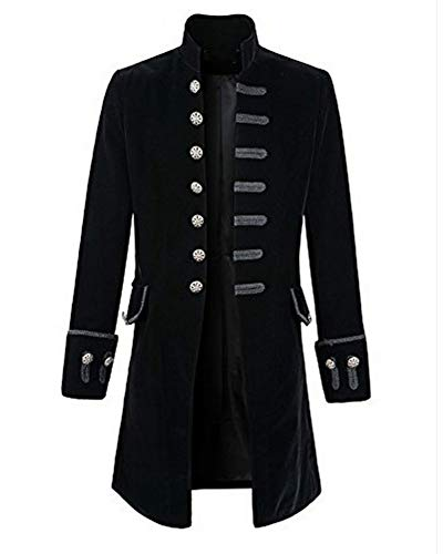 e Steampunk Frack Jacke Gothic Victorian Halloween Langer Mantel Coat Uniform Piraten Schwarz 2XL ()