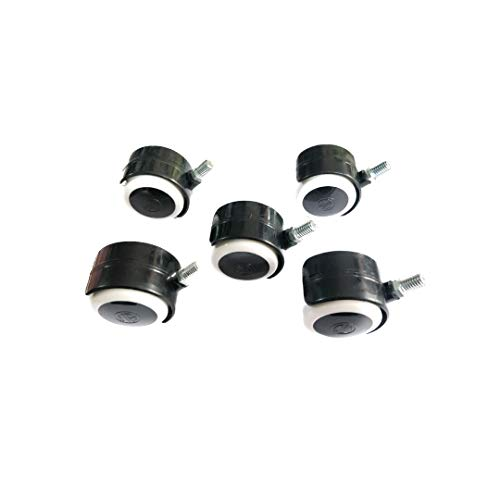 RAJ CHAIR Twin Castor Wheels Threaded Set of 5 pcs for revolving Chairs and Other revolving Products. 100% Nylon ABS Material Assurance.