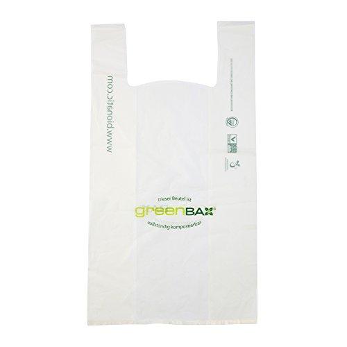 BIOZOYG Bio Plastiktüten Einkaufs-Tüten kompostierbar I greenbax biologisch abbaubare Tüten aus Biokunststoff Mater-Bi Einkaufstasche Bio Tragetüte weiß I 1000 Hemdchen-Tragetaschen 24x13,5x39cm