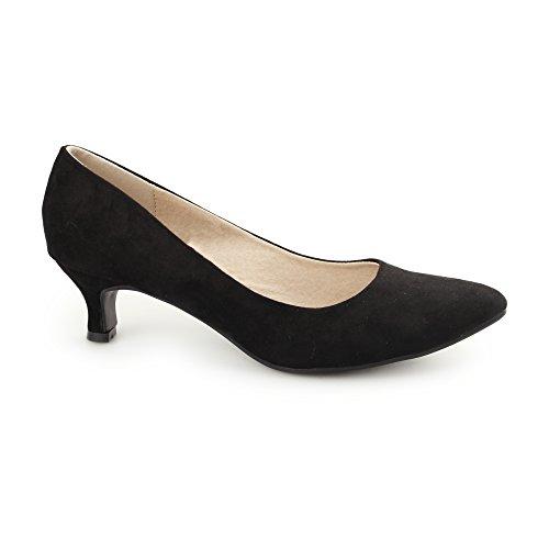 Comfort Plus TEXAS Ladies Faux Suede Kitten Heel Court Shoes Black UK 6