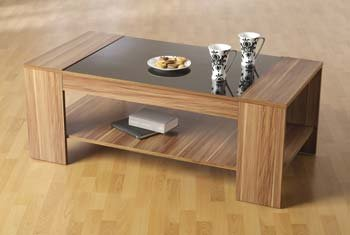 Seconique Clearance - Hollywood Walnut and High Gloss Coffee Table - Color: Black