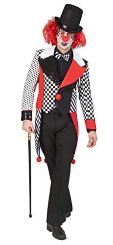 Clown Schwarz Kostüm - Karneval-Klamotten Harlekin Clown Pierrot Herren-Kostüm Narren Männer schwarz weiß rot Größe 56/58