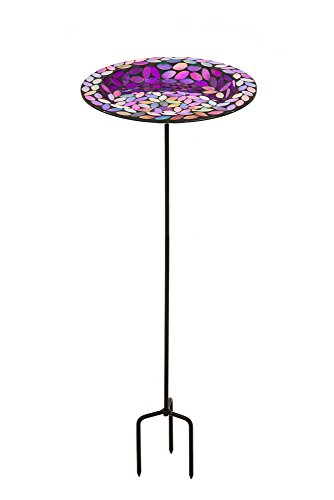 Evergreen Garden Orchid Mosaic Glass Bird Feeder with Metal Stake