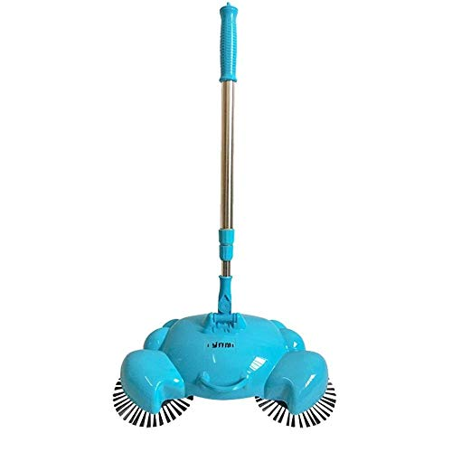 Rotary Sweeper (Eulan Automatic Hand Push Sweeper, 360 Rotary Home Use Automatic Push Sweeping Without Electricity Manual Floor Dust Sweeper, Dustpan and Trash Bin 3 in 1 Household Cleaning (Blue))