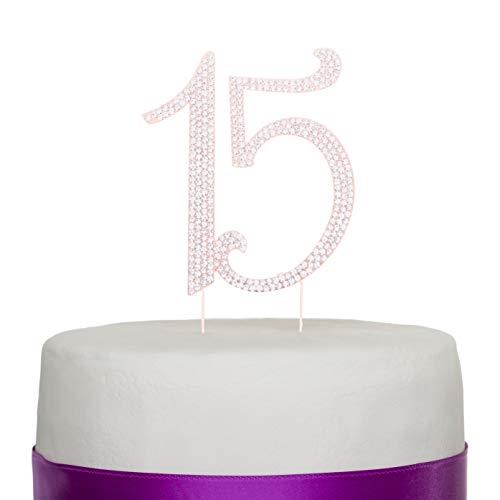 Quinceañera Nummer 15Tortenaufsatz Strass Metall Dekoration zum 15. Geburtstag rose gold