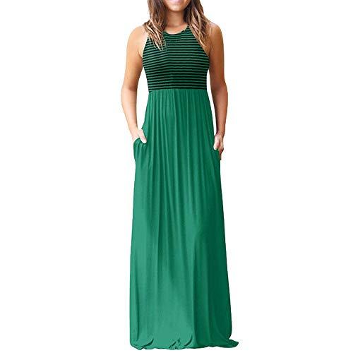 NPRADLA Vestido Largo Maxi sin Mangas con Estampado de Rayas sin Mangas de Mujer Elegante Moda Fresco Casual Hermoso Cómodo Verde XL
