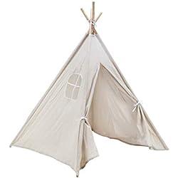 Amazinggirl Tipi pour Enfant Enfants Tente avec Une fenêtre - Wigwam pour Intérieur & l'extérieur de Jeux Blanc Toile en Coton Tente de Jeu 140 cm
