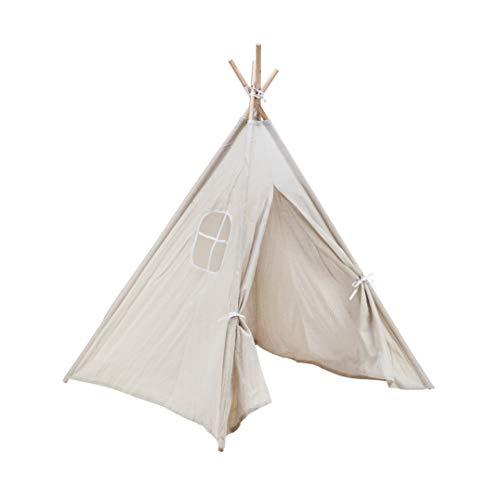 Amazinggirl Tipi Zelt für Kinder Spielzelt - Tippi Kinderzelt Kinderzimmer Teepee Wigwam Indianerzelt Outdoor Indoor Spielhaus mit Fenster WEIß 140 cm