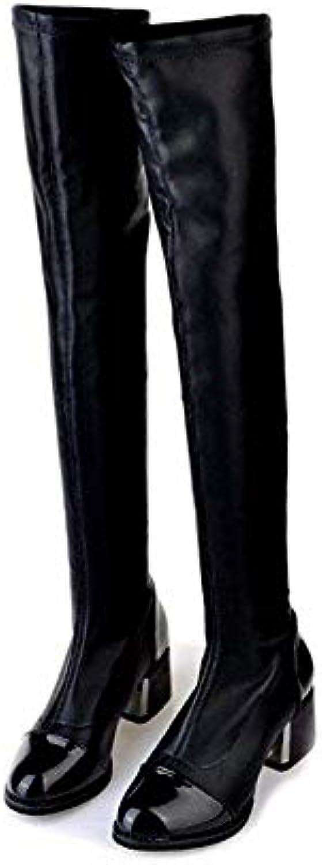 DEED donna 'S scarpe stivali Knee stivali Pu Leg Knee Martin Piccolo profumato spesso con inverno,35 Eu,Nero | Del Nuovo Di Stile  | Scolaro/Signora Scarpa