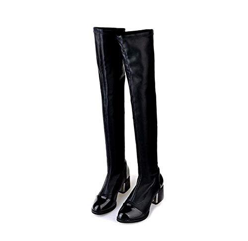 DEED Women 'S Schuhe Stiefel Kniestiefel Pu Leg Knie Martin Kleine Duftenden Dick mit Winter,35 EU,Schwarz -