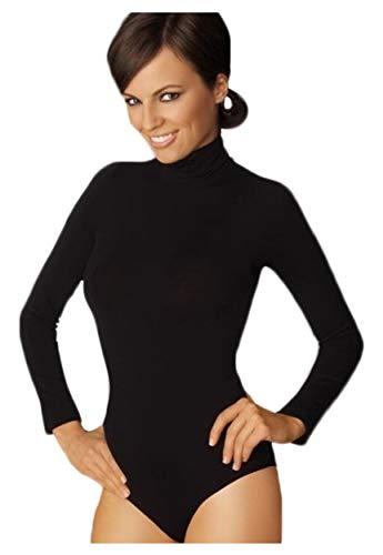 Gatta body golf-elegante body a maniche lunghe con roll colletto alto comfort senza cuciture laterali nero m