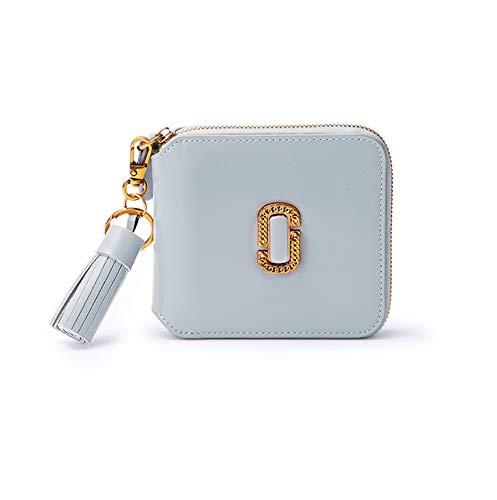 Dream Tissa Damen Short Section Wallet Leder Reißverschluss Clutch Quaste Geldbörse Kartenhalter (Color : Blue, Size : 11 * 11 * 2)